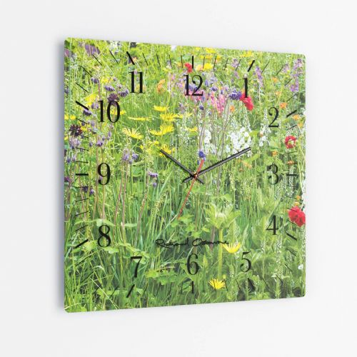 Wildflowers - Square Glass Clock